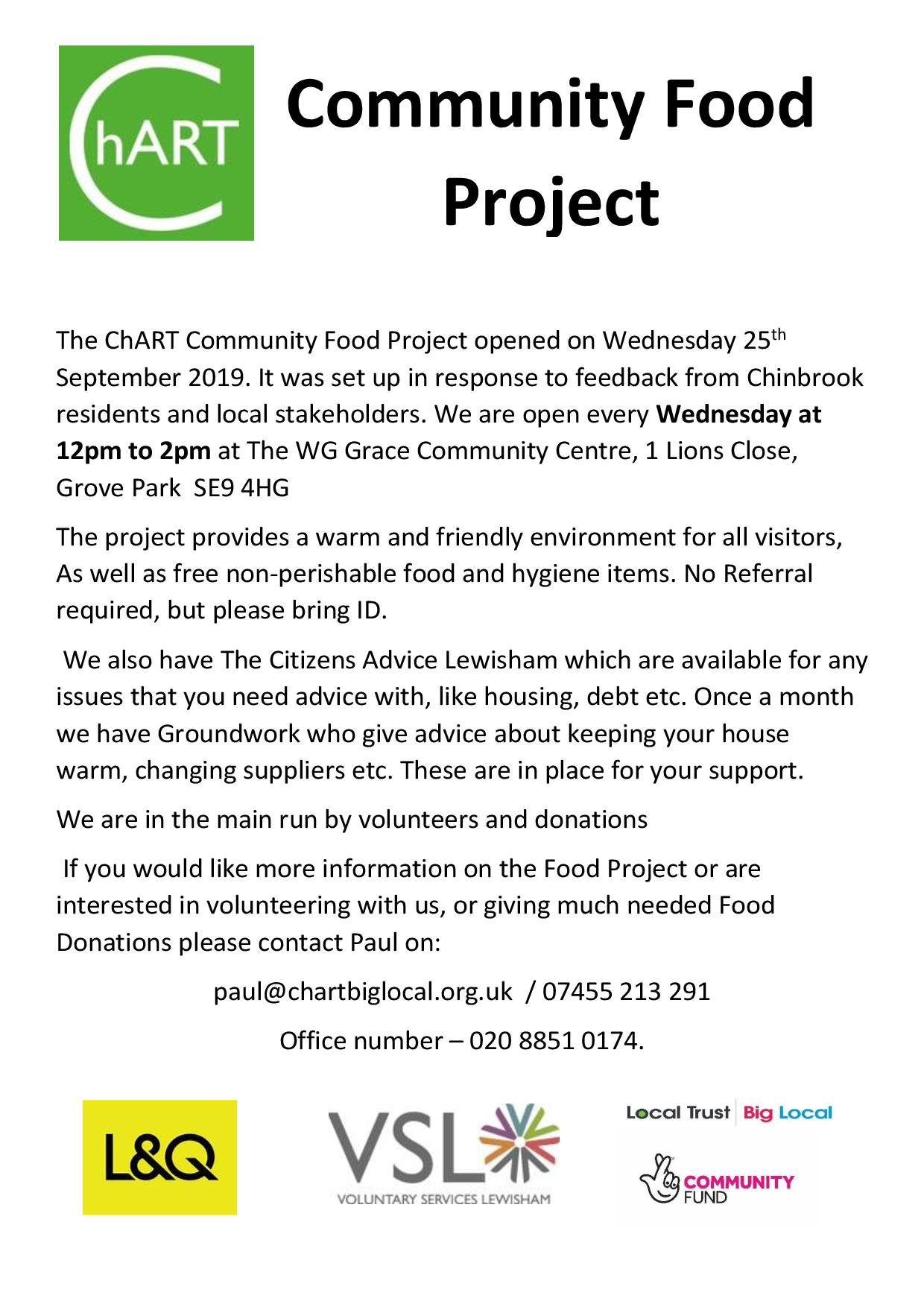 Food Project Flyer advertising Food Project every wednesday 12pm  - 2pm WG Grace Community Centre